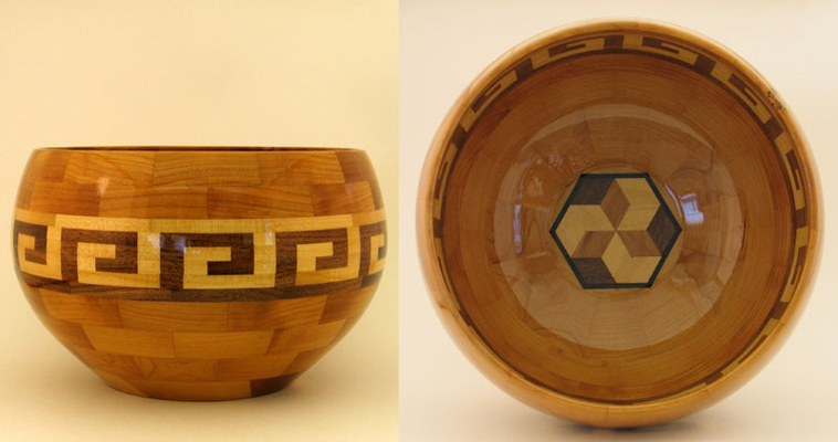 Segmented Salad Bowl - Navajo border pattern